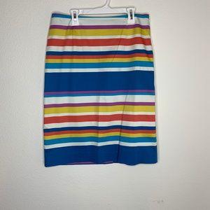 Boden Pencil Straight Skirt Rainbow Striped 8